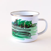 Load image into Gallery viewer, Enamel camp mug that features a lady golfer in Bend OR
