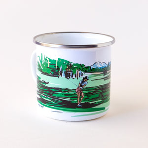 Enamel camp mug that features a lady golfer in Bend OR