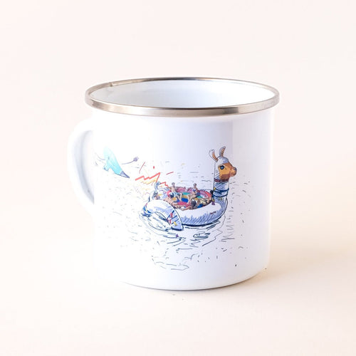 enamel camp mug that features comic summer vibes and a hairdryer attacking the sunbathing company on the lama floatie
