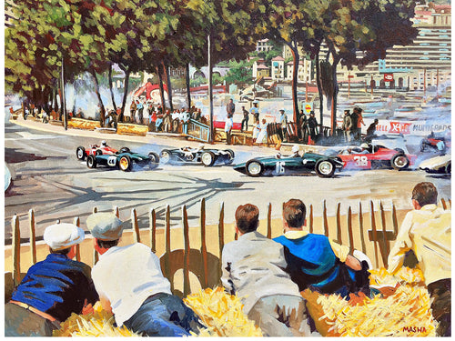 Art Print-Monaco GP-Phil Hill-Ferrari-Jim Clark-Stirling Moss-Tony Brooks-BRM P48/57 Climax-Ginther-Dan Gurney-Porsche 718.