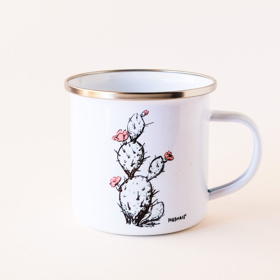 Made in Arizona enamel camp mug with Prickly Pear cactus design