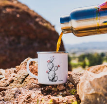 Load image into Gallery viewer, Made in Arizona enamel camp mug with Prickly Pear cactus design