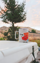 Load image into Gallery viewer, Roam free tumbler mug hand-printed in Scottsdale Arizona on the Yeti cooler in Missoula Montana