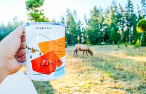 Yellowstone National Park camp ground with a baby elk roaming in between the tents one chilly morning and a hand-printed tumbler mug with steaming coffee