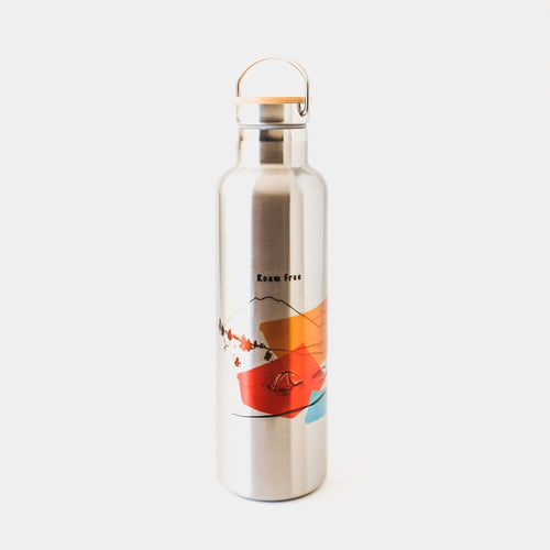 Stainless Steel insulated water bottle made in Arizona USA with mountain design