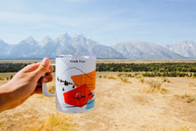 Load image into Gallery viewer, Hand-printed in Arizona camp mug with Grand Teton National Park views in the background