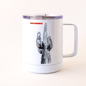 saguaro cactus drawing on the insulated tumbler mug with lid made in Arizona