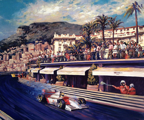 Senna racing in Monaco GP