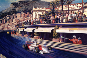 "Art Print - ""Senna Coming out of Turn in Monaco GP"""