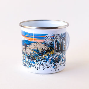 Enamel camp mug hand-printed in Arizona that features desert landscapes and an epic sunset with a deer buck hiding in the brush