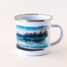 Load image into Gallery viewer, enamel camp mug hand-printed in Arizona that features the sunset by the lake with a large campfire that its the sky with sparkles