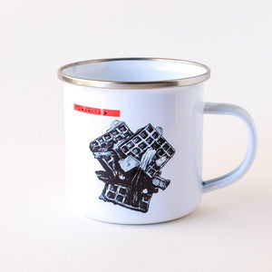 made in Arizona enamel camp mug with stainless steel rim that features waffles and bacon