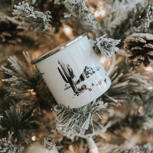 Charming white Christmas in Phoenix camp mug with silver rim that works great as an ornament and a holiday candle holder gift