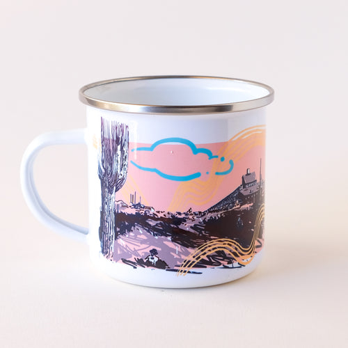 enamel camp mug that features wild west arizona scenery and historic mining sights