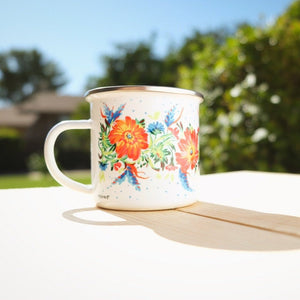 White camping mug with fall colors design