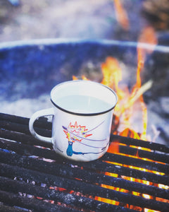 Sustainable enamel coffee mug showing campfire and marshmallows - camping vibes and a camp fire