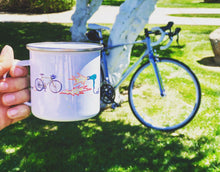 Load image into Gallery viewer, Enamel Coffee Mug - Bikes on Fire