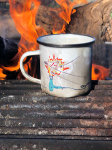 Sustainable enamel coffee mug showing campfire and marshmallows - camping vibes