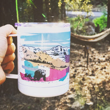 Load image into Gallery viewer, tumbler mug hand-printed in Arizona that features pacific northwest landscape and bear family that travels through the forest