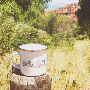 enamel camp mug han-printed in Arizona that features a road bike on the hot strada design and a hairdrier