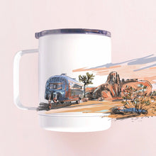 Load image into Gallery viewer, Insulated tumbler mug hand-printed in Arizona that features airstream in Joshua tree national park desert scenery and an epic sunset