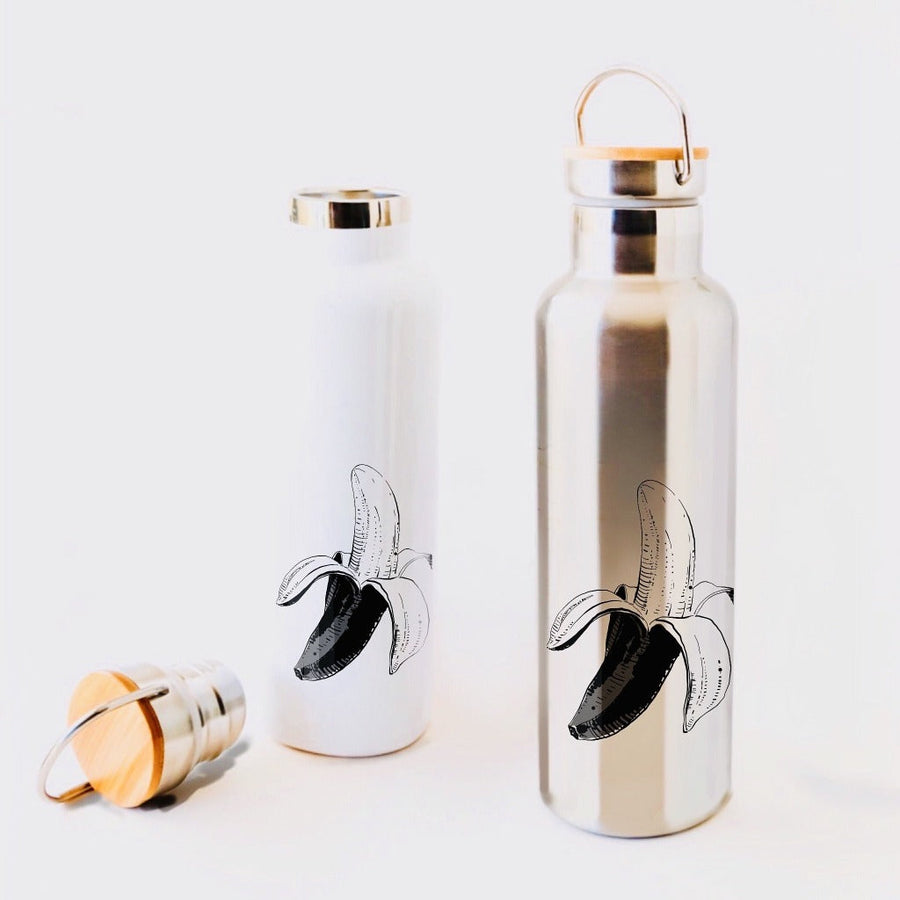 banana drawing black and white on the insulated locally printed waterbottle made in the USA