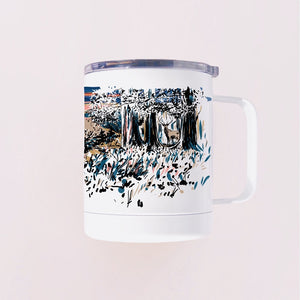 Arizona landscape art hand-printed on the tumbler mug made in Arizona that features sunset and a deer