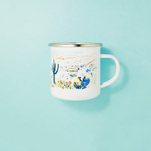 Arizona desert landscape inspired camp mug that features cactus and colors