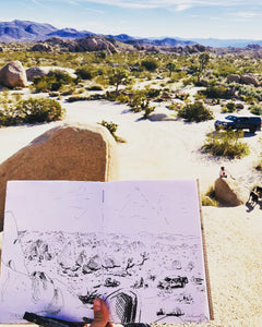 Sketching in Joshua Tree National park desert scenery and an epic sunrise