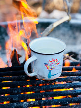 Load image into Gallery viewer, Sustainable enamel coffee mug showing campfire and marshmallows - camping vibes