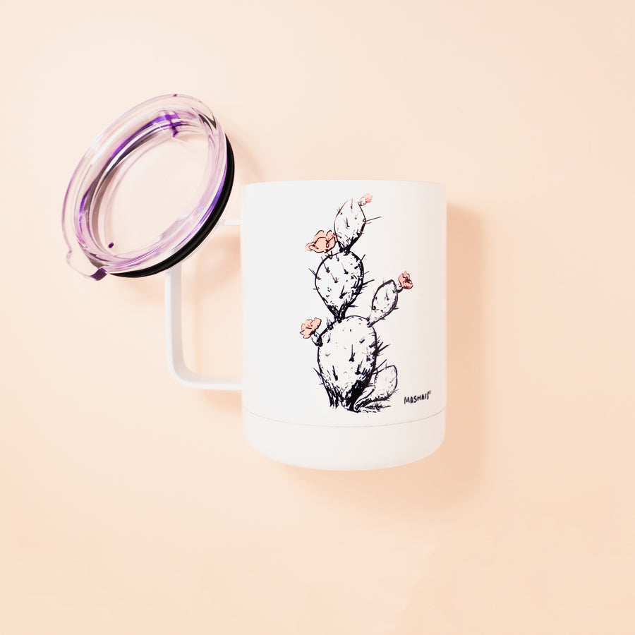 Made in Arizona enamel camp mug with Prickly Pear cactus designtumbler travel mug