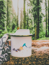 Load image into Gallery viewer, enamel coffee mug showing summer vibes and suntanning on the beach