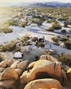 Family campground with the desert scenery at sunrise in the picturesque Joshua Tree National Park
