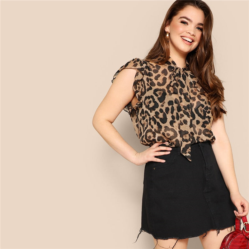 Shine Plus Size Leopard Print Sheer Mesh Blouse - Lynne & Trends