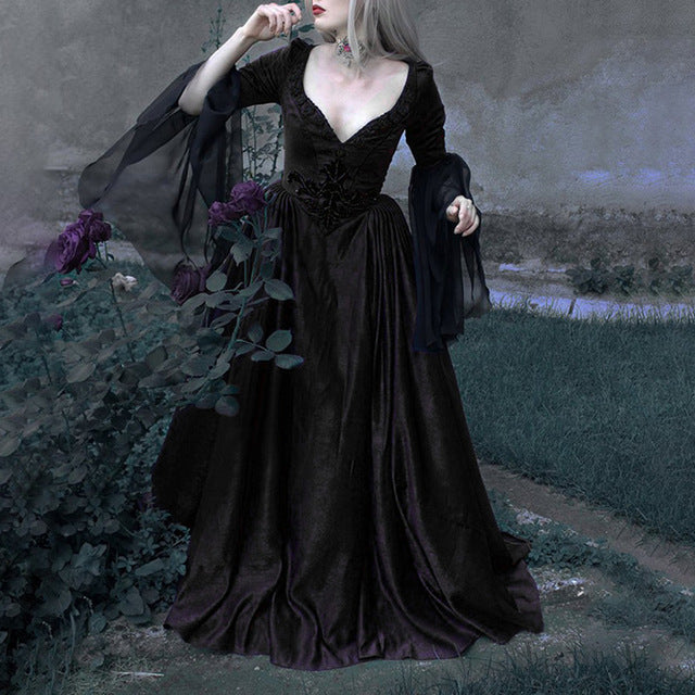 Gothic Low-Cut Ball Gown - Lynne & Trends