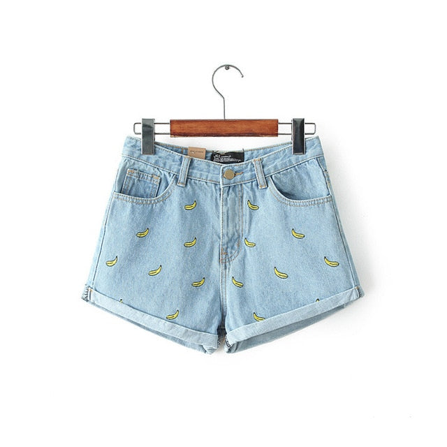 Procia Banna Print Blue Denim Short - Lynne & Trends