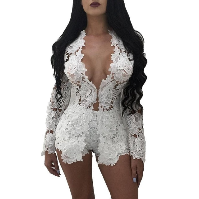 Hollow Out Floral Lace Playsuit - Lynne & Trends