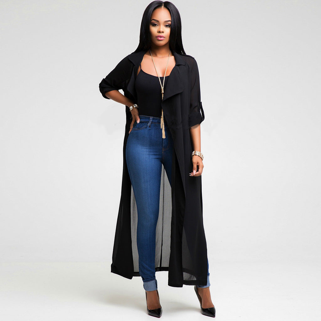 Emily Long Sleeve Chiffon Maxi Sheer Dress Cape - Lynne & Trends