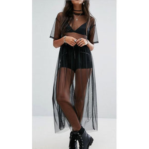 Joana Black Mesh Top Sheer - Lynne & Trends
