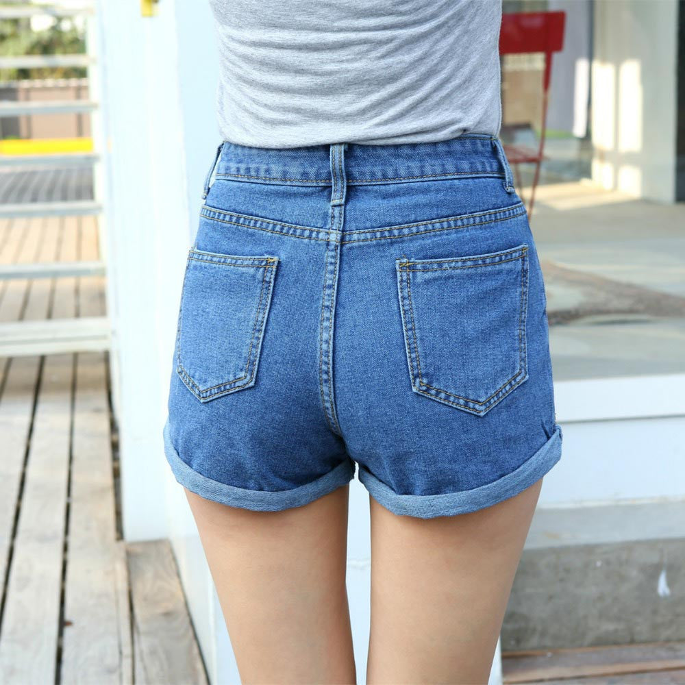 Laelia High Waist Blue Denim Shorts - Lynne & Trends