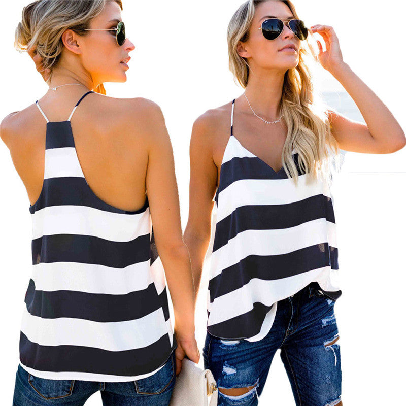 Striped Singlet Black and White Sleeveless Tank Top - Lynne & Trends