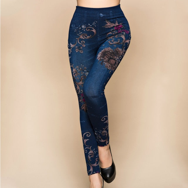 Joe Blue Floral Denim Leggings - Lynne & Trends