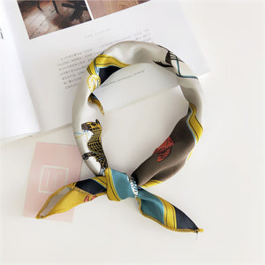 Silky Satin Square Scarf Hair Tie Band - Lynne & Trends