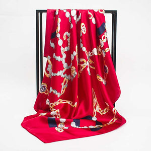 Winter Print Satin Square Bandana - Lynne & Trends