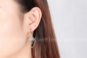 Double Diamond Silver Plated Long Drop Earrings - Lynne & Trends
