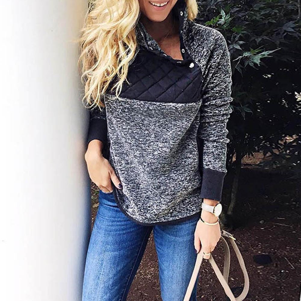 Monica Long Sleeve Patch Black and Gray Tops - Lynne & Trends