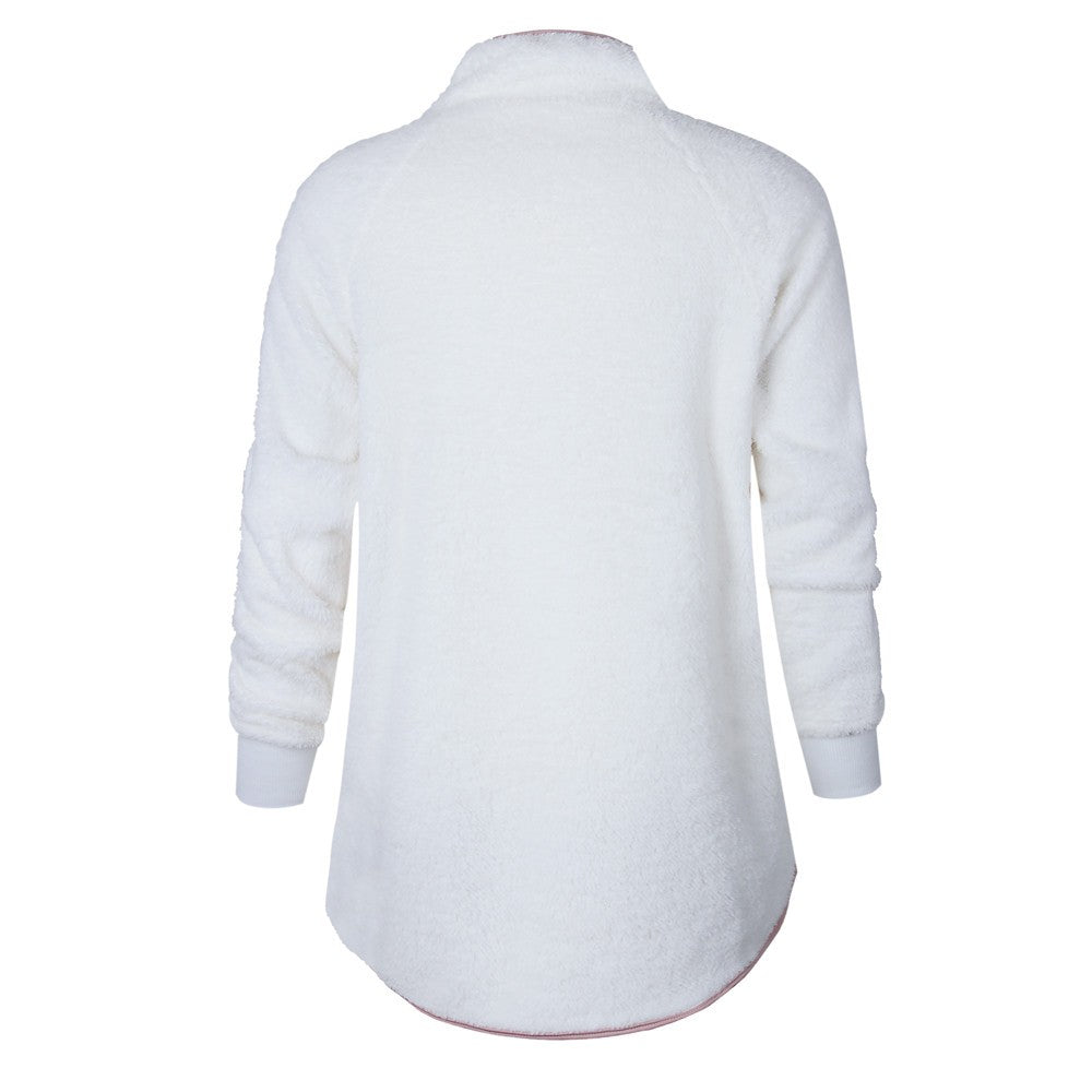 Monica Long Sleeve Patch White Tops - Lynne & Trends