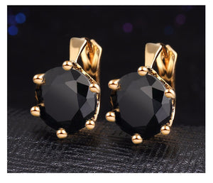 Black is Real Punk Crystal Flower Earrings - Lynne & Trends