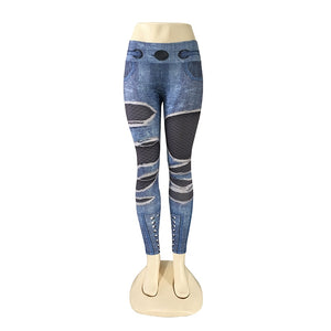 Kassandra Gothic Print Denim Leggings - Lynne & Trends