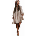 Vintage Solid Patch Lace Flare Sleeved Dress - Lynne & Trends